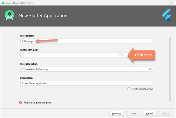 new flutter application android studio