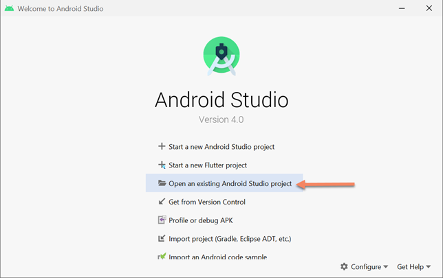 open existing flutter project in android studio