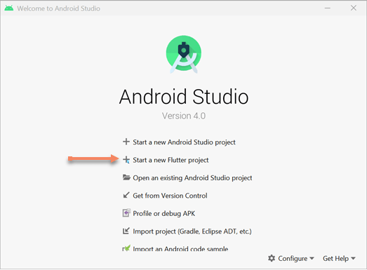 start a new flutter project in android studio